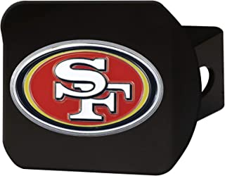 "product image for FANMATS 22610 NFL San Francisco 49ers Metal Hitch Cover, Black, 2"" Square Type III Hitch Cover,Red"