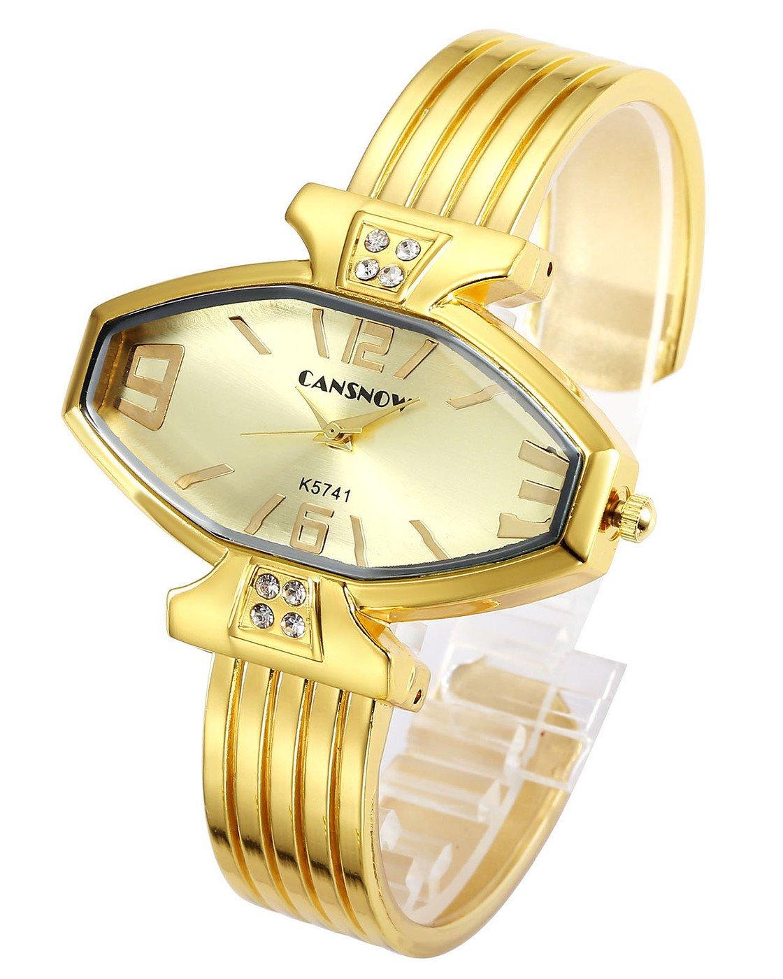 Top Plaza Women Ladies Casual Luxury Gold Rose Gold Tone Alloy Analog Quartz Bracelet Watch Rhombus Dial Rhinestones Decorated Elegant Dress Bangle Cuff Wristwatch-All Gold