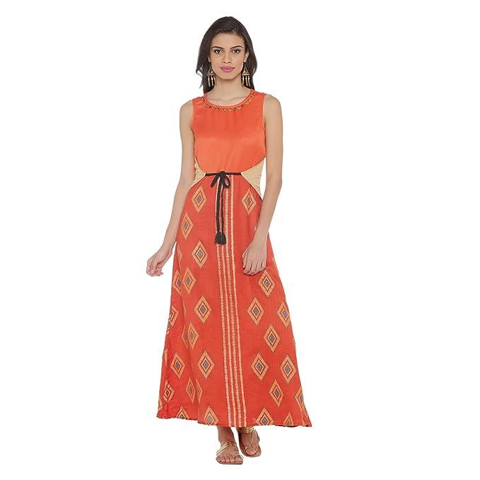 80c2fc8aa2b34 Akkriti By Pantaloons Women s Cotton Maxi Dress  (205000005790892 Brown X-Small)