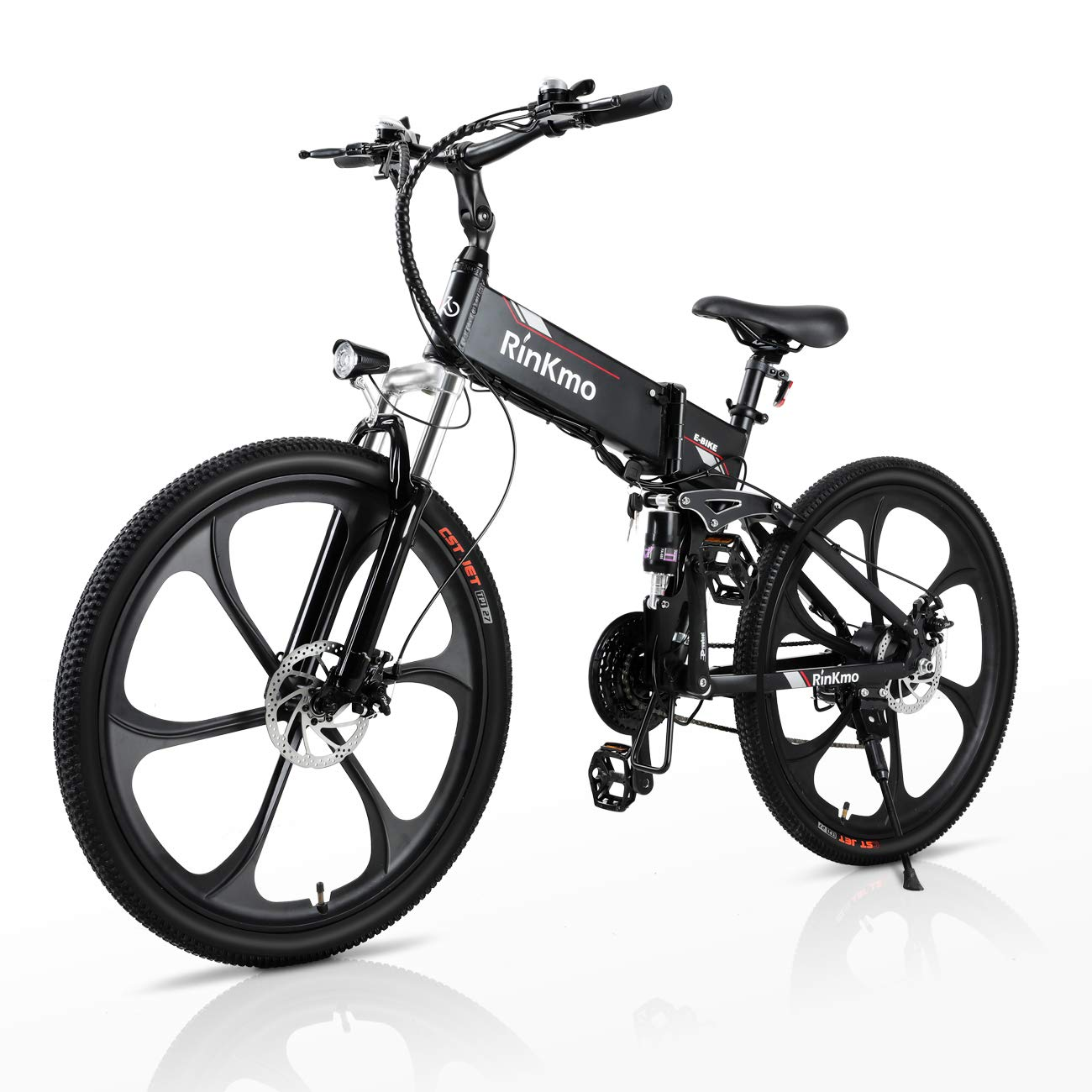 """Electric Bikes for Adults, RINKMO 26"""" 350W Folding Mountain Ebike Aluminum with 10AH Removable Battery, Electric Bicycle with Power Assist, 21 Speed Gears"""