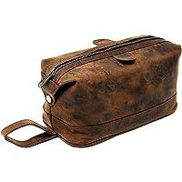 Men's Buffalo Genuine Leather Toiletry Bag Waterproof Dopp Kit Shaving Bags and Grooming for Travel Groomsmen Gift Men…