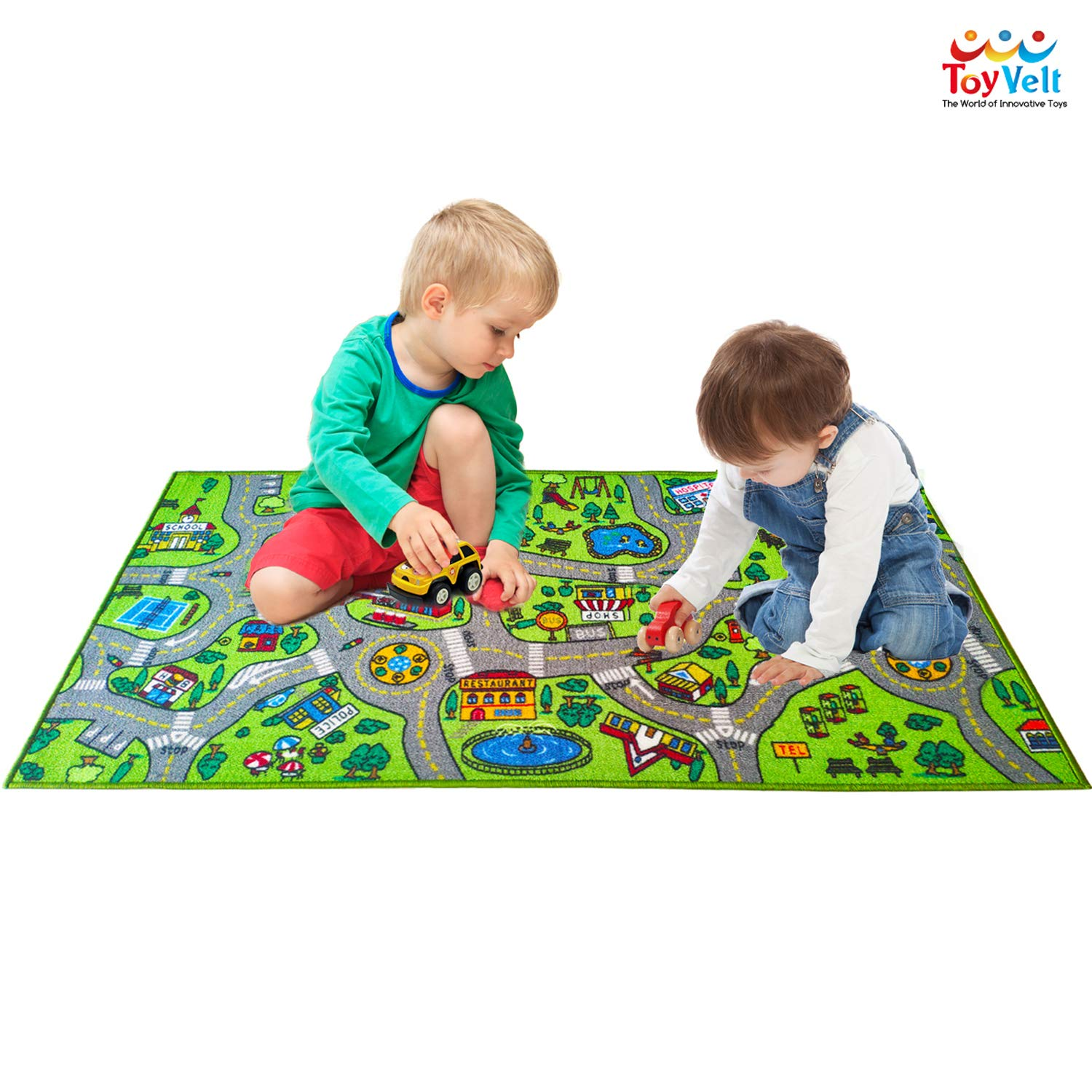 ToyVelt Kids Carpet Playmat Car Rug - City Life Educational Road Traffic Carpet Multi Color Play Mat - Large 60'' x 32'' Best Kids Rugs for Playroom & Kid Bedroom - for Ages 3-12 Years Old by toyvelt