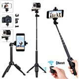 40 Inch 3 in 1 Mini Size Aluminum Alloy Selfie Stick Bluetooth, Extendable Selfie Stick Tripod with Wireless Remote Control for iPhone 6 7 8 X Plus, Samsung Galaxy S9 Note8, Gopro,Digital cameras