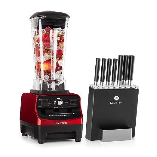 Klarstein Herakles 3G Kitano juego de cuchillos y batidora • Batidora de vaso • Juego de cuchillos magnético • 1500 W • Sin BPA • 2 litros de capacidad • 7 ...