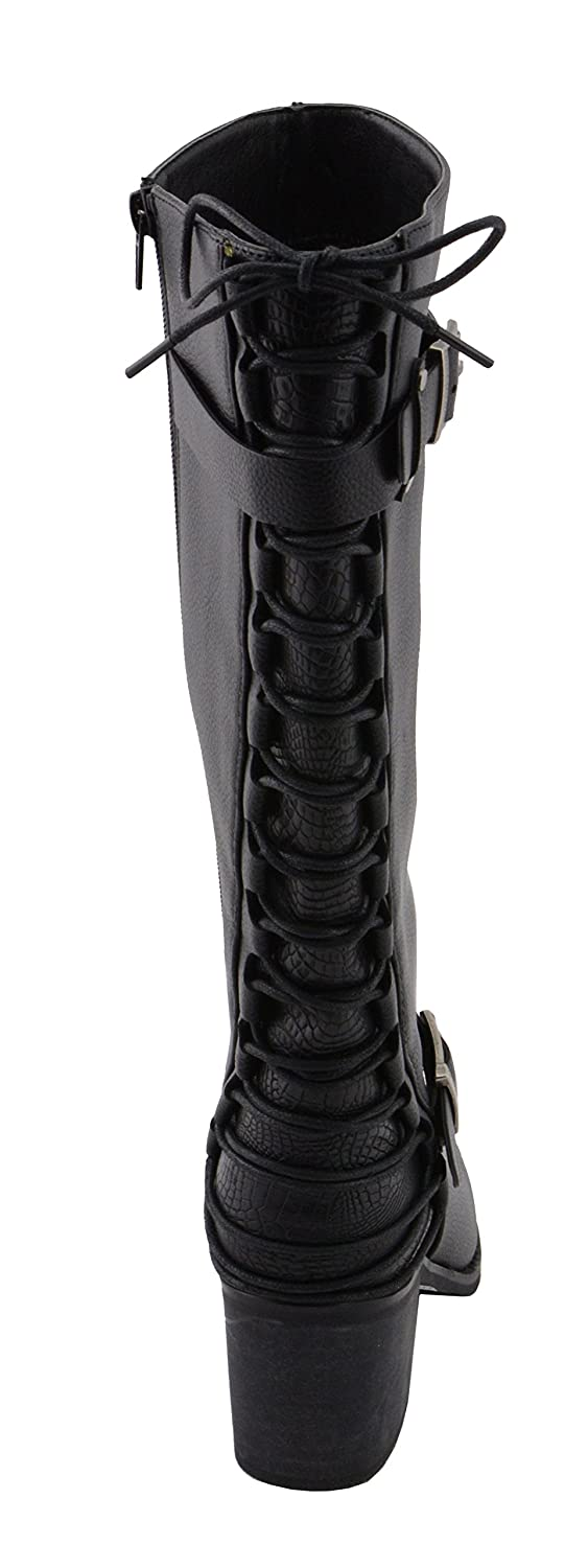 Black, 11 Milwaukee Performance Womens Back End Laced Riding Boot