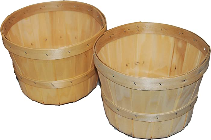 1/2 Peck Natural Wooden Baskets with 6 inch Saucer 2 Pack