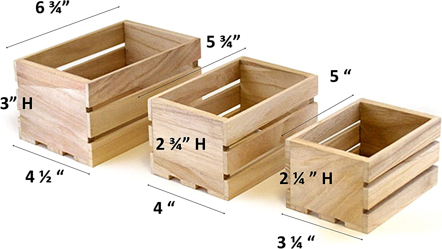 Juvale Wooden Crate 3-Count Small Decorative Storage Caddy Set Unfinished