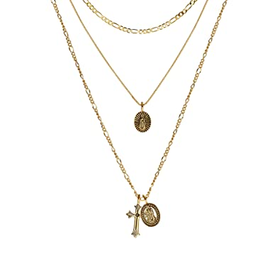 fa906f42ccf8 ACC PLANET Gold Cross Pendant Necklace 14K 18K Gold Plated Figaro Box Chain  Choker Valentine s Day