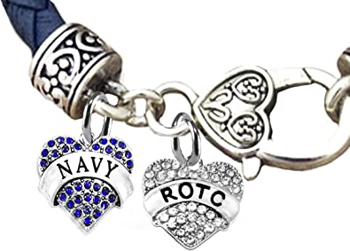 Genuine Air Force Blue Leather Bracelet Hypoallergenic Safe-Nickel Cardinali Jewelry ROTC Lead and Cadmium Free