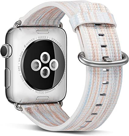 Pierre Case Compatible with Apple Watch Band 38mm 40mm,Genuine Leather Strap Replacement Bands for iWatch Series 5 Series 4 Series 3 Series 2 Series 1 ...