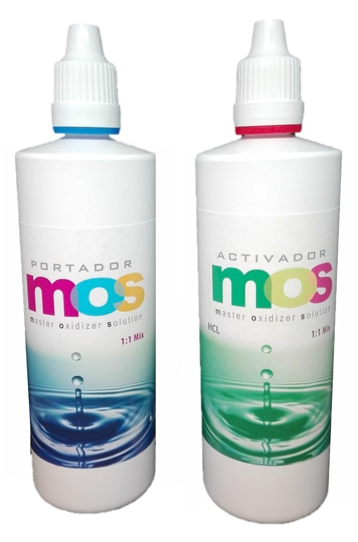 Oxi-Gen MOS clorito de sodio 25% + HCL 4%, Frascos gotero de alta calidad y fácil dosificación 140 ml. Formula clásica para producir Dióxido de cloro.