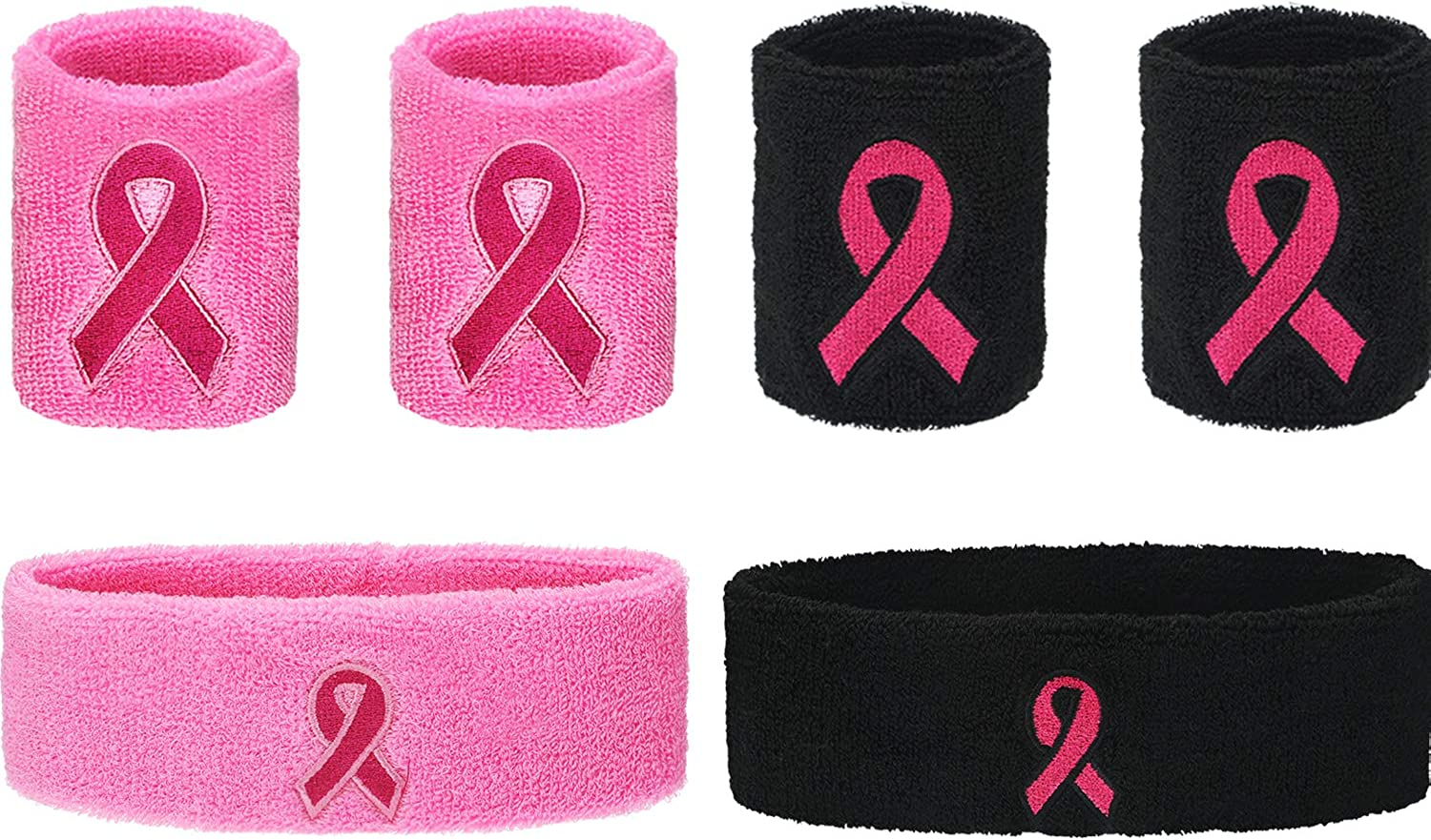 SATINIOR 6 Pieces Pink Ribbon Sweatbands Breast Cancer Awareness Sweatbands, Includes 2 Pieces Sweat-Wicking Headbands Hairbands and 4 Pieces Terry Cloth Wristbands for Sports (Pink and Black)
