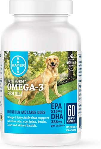 Bayer Free Form Snip Tips Gel Capsules, Omega-3 Fish Oil, Fatty Acids for Cardiovascular, Joint, Cognitive, Kidney, Ocular Health, Dogs with High Levels of EPA and DHA