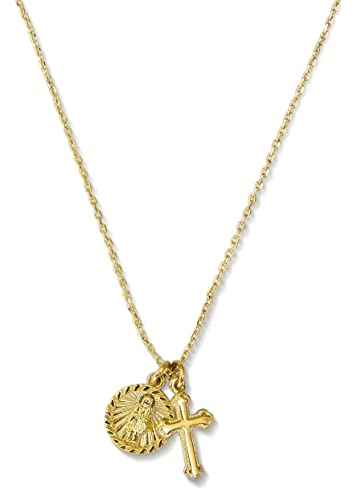 Amazon cross necklace with coin 14k gold pendant necklace cross necklace with coin 14k gold pendant necklace saint medal disc circle saint genevieve dainty aloadofball Images