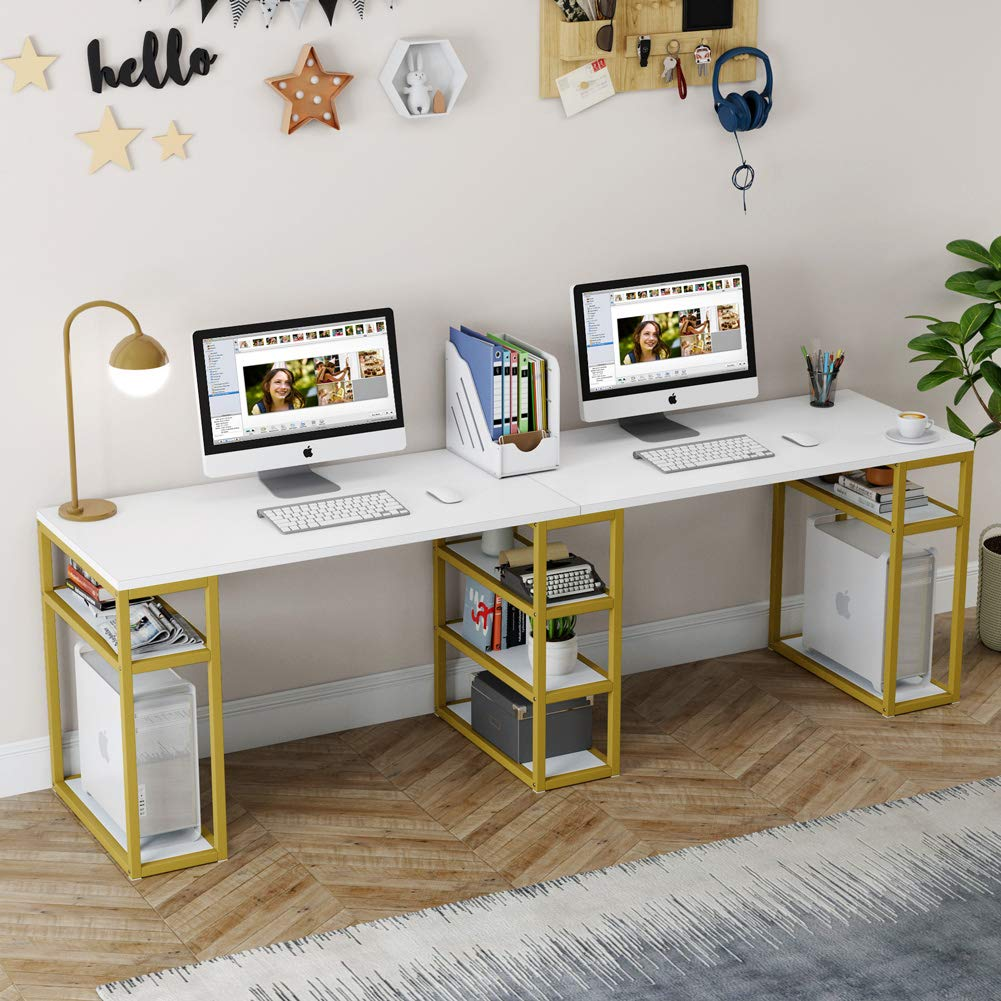 Tribesigns Two Person Computer Desk with Storage Shelves & Tower Shelf, 94.5 Inches Extra Long Desk, Double Workstation Office Desk for Home Office, White & Gold Metal Legs