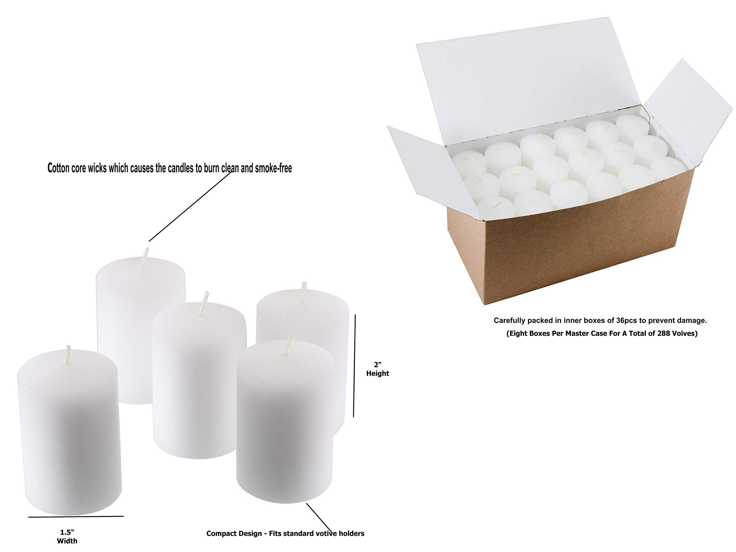D'light Online 15 Hour White Unscented Votive Candles Wedding and Emergency Survival Luminary Candles - Bulk Event Pack (White, Set of 288) by D'light Online (Image #2)
