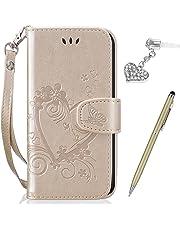 Kompatibel mit Huawei P20 Lite Hülle,Huawei P20 Lite Schutzhülle,Prägung Liebes Herz Schmetterlings Blumen PU Lederhülle Flip Hülle Handyhülle Tasche Wallet Case Schutzhülle für Huawei P20 Lite,Gold