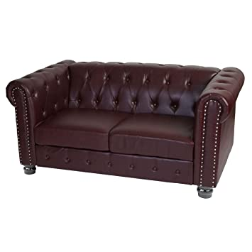 Mendler Luxus 2er Sofa Loungesofa Couch Chesterfield Kunstleder