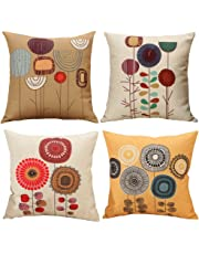Freeas Cushion Cover, Set of 4 Tropical Cotton and Linen Plants Bedspread Pillowcase Square Hull House Sofa Cover 45 x 45 cm