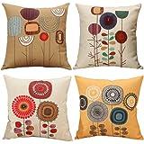 Gspirit Almohada de Pareja Funda cojin Dibujos Animados Flores Patrón Decorativo algodón Lino cojín Cubierta Almohada…