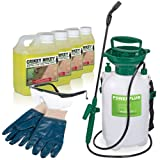 Crikey Mikey Extra Strong Cleaning Solution - Kills Moss, Algae, Lichen, Weeds & Mould Fast. Complete Kit Includes 4x 1 Litre Bottles, 5 Litre Sprayer, Safety Glasses & Gloves