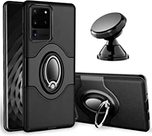"eSamcore Galaxy S20 Ultra Case - Phone Ring Holder Cases + Dashboard Magnetic Car Phone Mount Kickstand Grip for Samsung Galaxy S20 Ultra 5G 6.9"" [Black]"