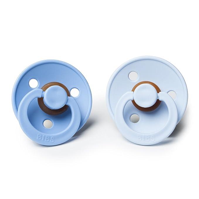 Bibs BPA bebé de goma natural Chupete | Hecho en Dinamarca 2-Pack Cielo azul/azul de bebé 0-6 Meses