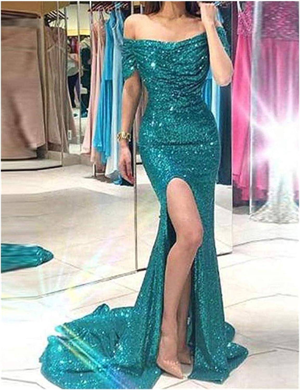 Per donna formale abiti da sera spacco laterale paillettes lungo abito da ballo Plus Size P228 Fucsia B.