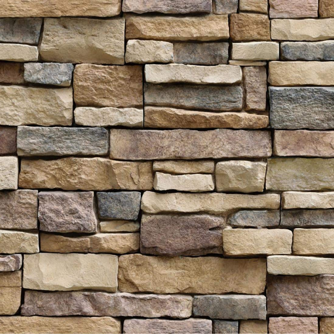 Vimoon Stone Wallpaper, PVC 3D Effect Blocks Peel and Stick Wallpaper for Home Decoration (17.71'' Wide x 393'' Long) by Vimoon