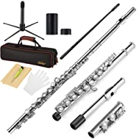 Eastar EFL-1 Closed Hole 16 Key C Flutes Nickel Beginner Flute Set With Carrying Case Stand Gloves Cleaning Rod and Cloth