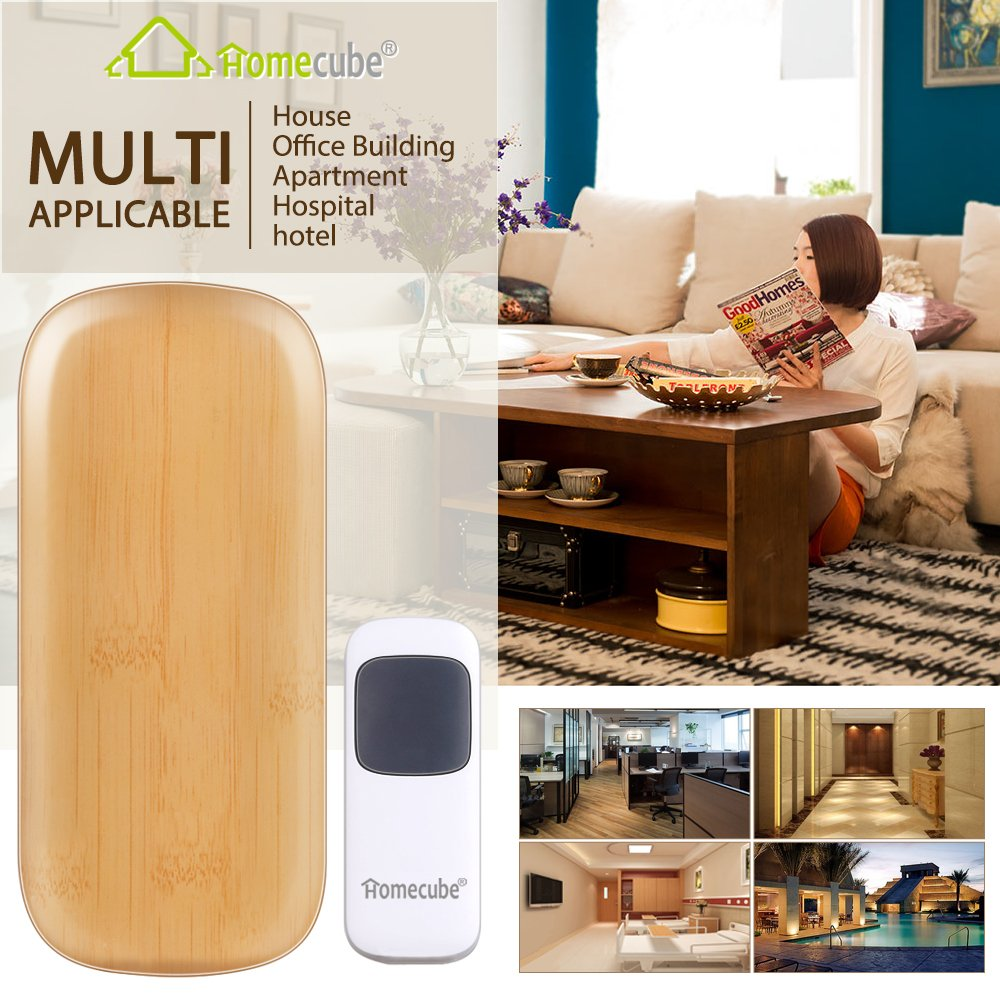 Wooden Wireless Doorbell Kit Homecube Waterproof Wireless Doorbell for Home with 2 Receiver /& 1 Transmitter 4 Volume Levels /& LED Flash Operating at Over 900 Feet with 22 Chimes Bestrice