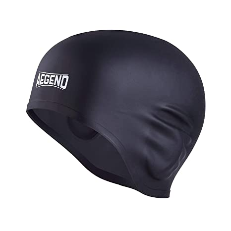 1689acded5f Aegend Black Waterproof Swim Cap for Adult Men Women Solid Silicone Long  Hair Short Hair With