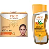 VLCC Chandan Kesar Facial Kit and Ayurveda Shampoo Combo