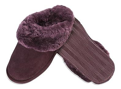 Nordvek - Zapatillas de casa unisex - Talón abierto - 100% piel ovina auténtica - Collarín de pelo y suela ligera - # 406-100 - Castaña - 37 EU / 4 UK yRVx6MOQo