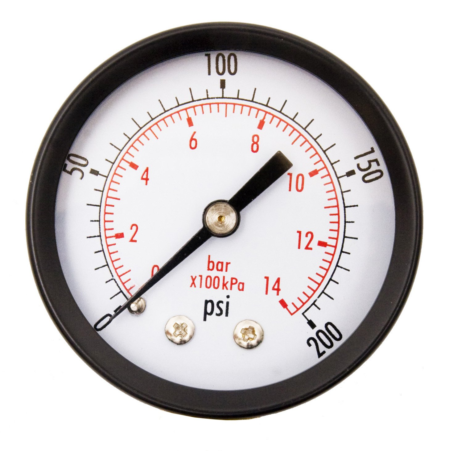 DuraChoice 2 Dial Utility Pressure Gauge for Air Compressor Water Oil Gas 1 4 NPT Center Back Mount Black Steel Case 0 200 PSI
