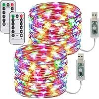 [2 Pack] Guirnaldas Luces Con enchufe USB,10m/100 LED 8 modos Luces de Hadas de 33 pies con Control Remoto y…
