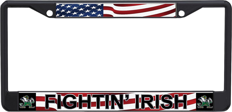 Stockdale NCAA Notre Dame Fighting Irish Laser-cut Acrylic USA Flag License Plate Frame