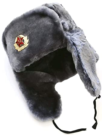0063d0eaab83c Ushanka company Gray Faux Fur Winter Hat with Army Officer Badge at Amazon  Men's Clothing store: Cold Weather Hats