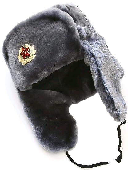 Russian ushanka winter hat Gray-56 with Soviet Soldier insignia e91bf8aa1327