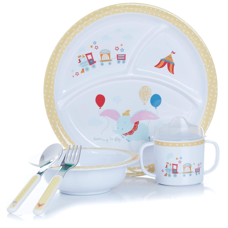 KIDS PREFERRED Disney Baby Dumbo 5 Piece Melamine Dinnerware Set