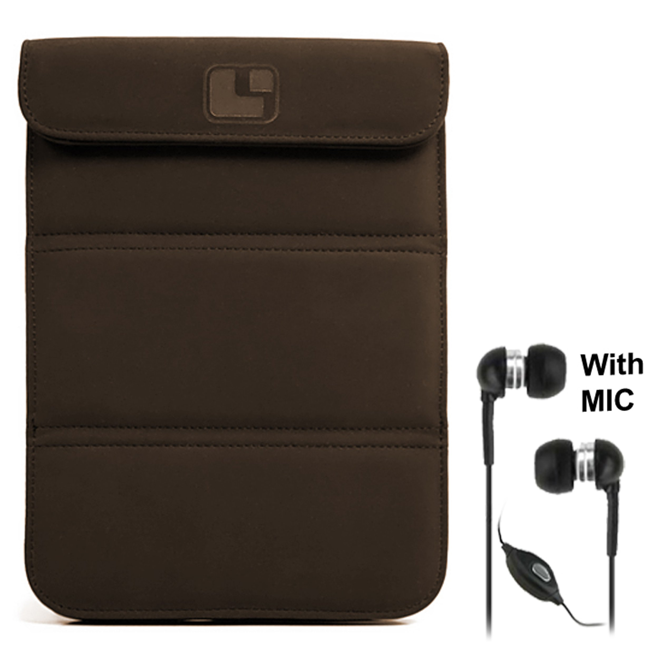 Smart Glove - Brown Premium Durable Leather Cover Sleeve Carrying Case can easily be converted to a stand For Amazon Kindle Touch ( Wi-Fi 6'' E Ink Display ) + Deluxe Stereo Hands-free Headset 3.5mm, with MIC, Black