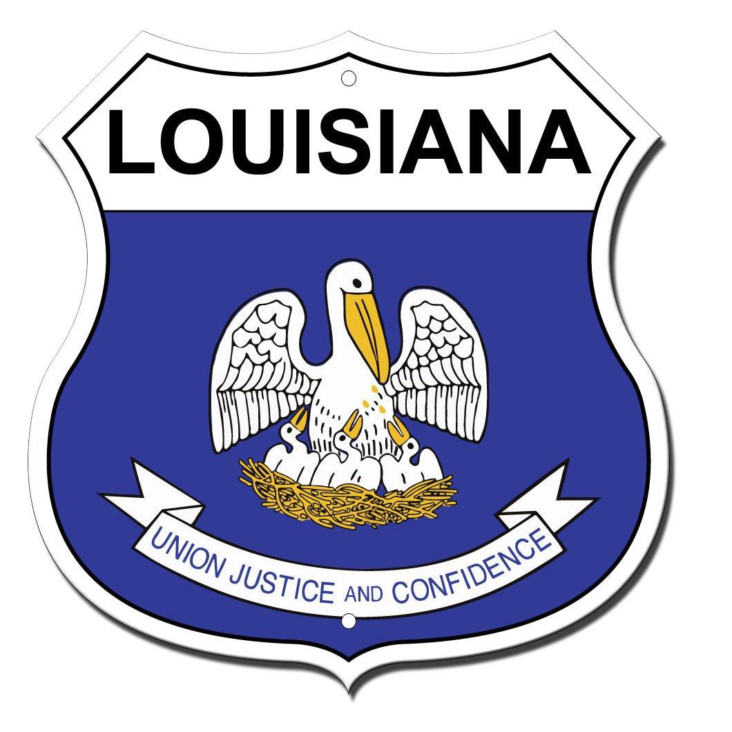 Louisiana State Flag Noveltyハイウェイシールドメタルサイン B071R1MJ6P