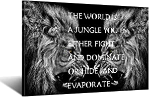 iKNOW FOTO Lion Animals Contemporary Canvas Quote Prints Framed Motivational Wall Art Black White African Pictures Paintings Artworks Pictures for Office Decor 24x36inch
