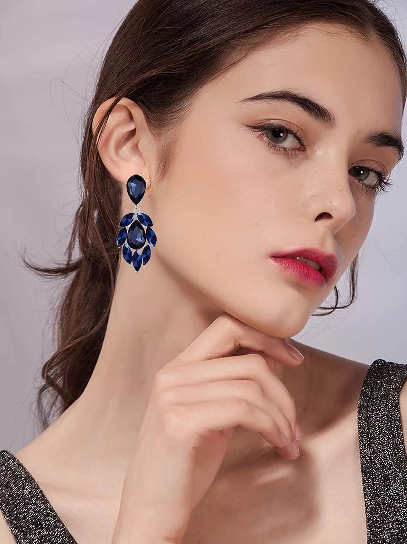 Scarlvambo Bridal Dangle Earrings Chandelier Flower Womens Austrian Crystal Pierced