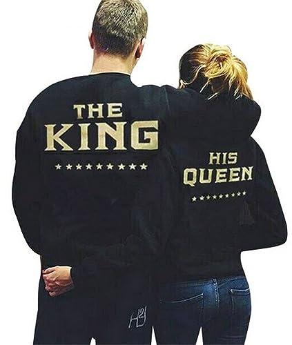 YOGLY Sudadera de Pareja Sudaderas Parejas King and Queen Camisetas con Mangas Largas Para Parejas T...
