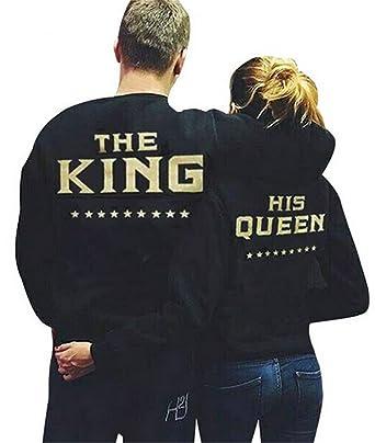 YOGLY Sudadera de Pareja Sudaderas Parejas King and Queen Camisetas con Mangas Largas para Parejas Tops Otoño: Amazon.es: Ropa y accesorios