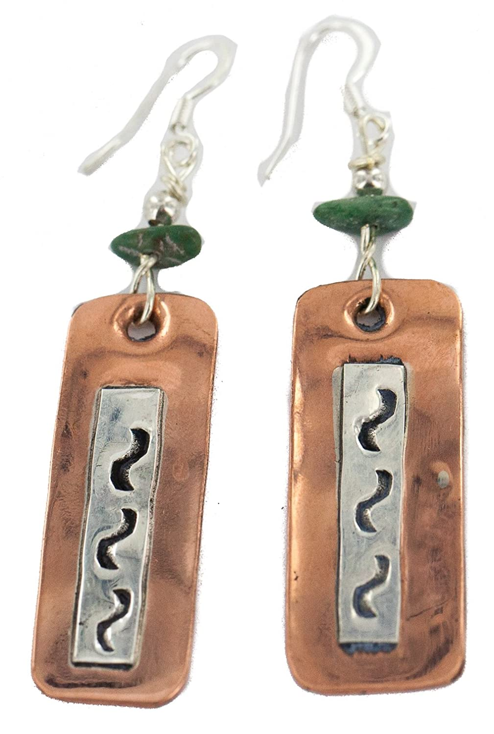 $300 Retail Tag Authentic Silver Hooks Made by Charlene Little Handmade Navajo Natural Turquoise Native American Pure Copper Dangle Earrings