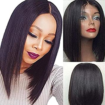 "Cheap Wigs Short Haircut Bob Wig Middle Part 3-4""Synthetic Lace Front Wig"