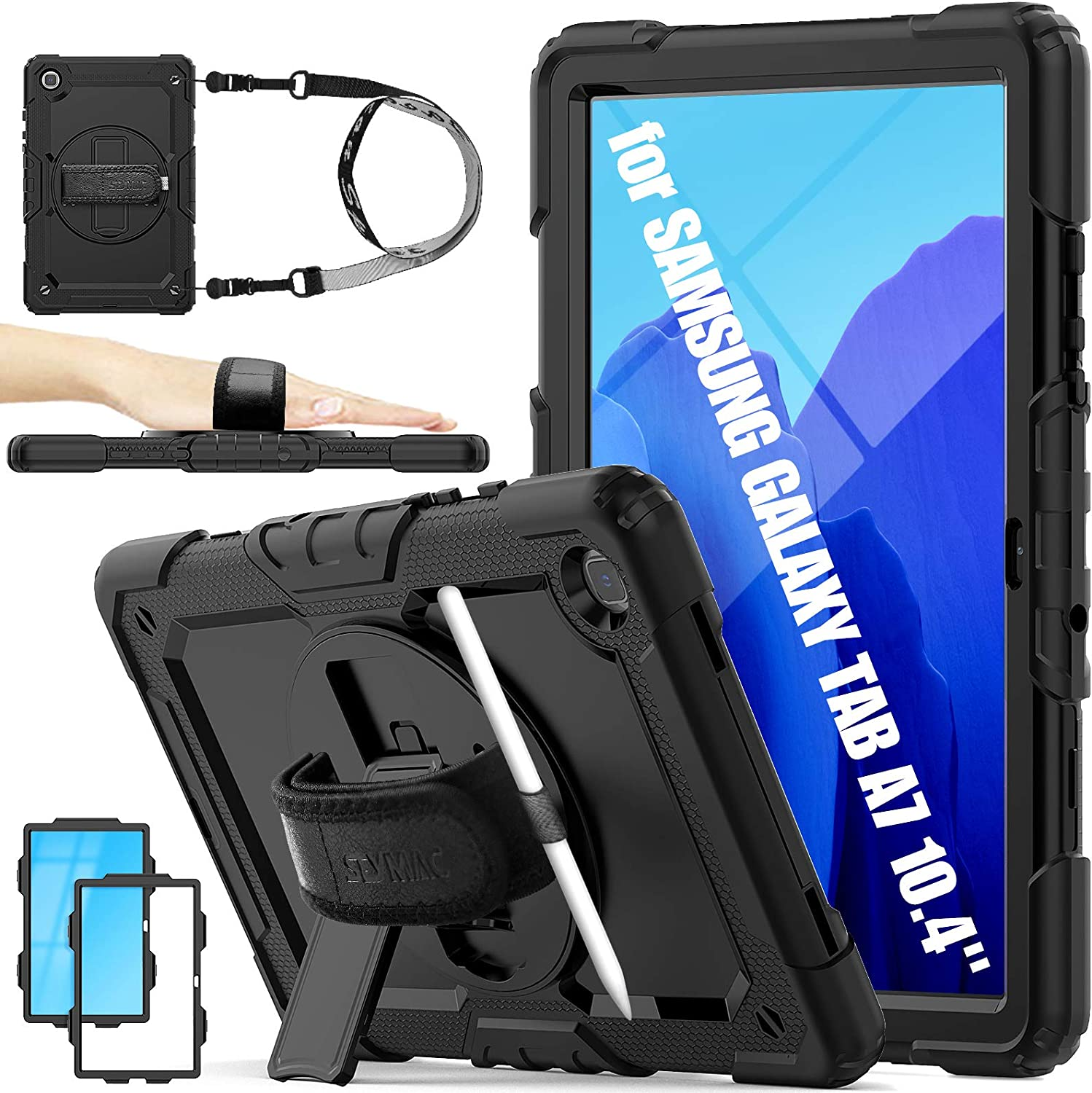 SEYMAC stock Case for Samsung Galaxy Tab A7 10.4'' 2020, 3-Layer Drop Protection Case with [360 Degrees Rotate Stand] Hand Strap &[Pencil Holder] [Screen Protector] for Galaxy Tab A7 10.4 inch (Black)