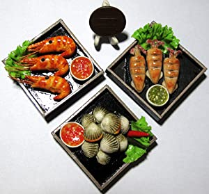 3 So Cute Mix Sea Food Dollhouse miniature Food,Tiny Food,Doll Collectibles Scale 1:6